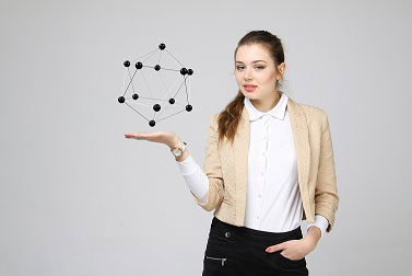 Scientist with crystal structure lattice model